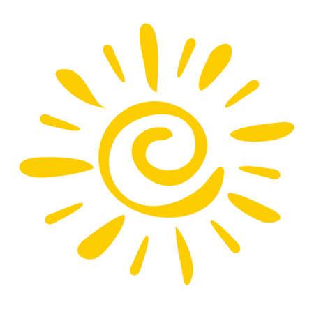 Handgezeichnete Symbol Sonne isoliert auf weißem Hintergrund.