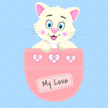 Cute cartoon baby cat sitting in a pocket and smiling fun.