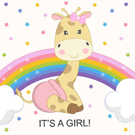 Greeting Card cute cartoon giraffe is on the rainbow isolated on a colored stars background. Graphic element for print design, poster and t-shirt.