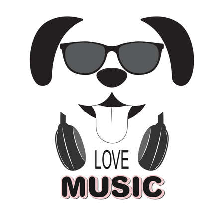 Beautiful dog in sunglasses love music. Cool kids graphics for t-shirts. Greeting card. Vector illustration.