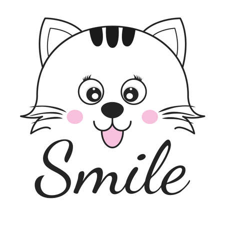 Cute cartoon cat face and inscription smile. Greeting card with charming kitty isolated on a white background. Graphics for t-shirts. Vector illustration.