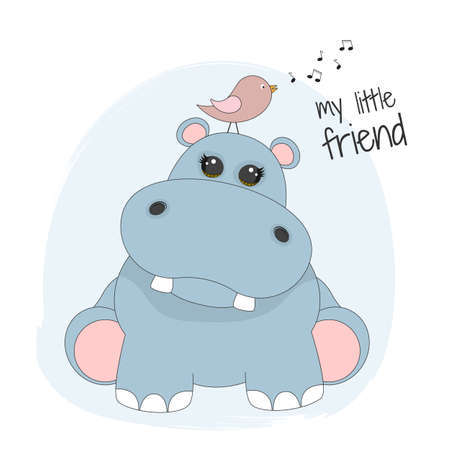Cute cartoon hippopotamus and bird. My little friend. Иллюстрация