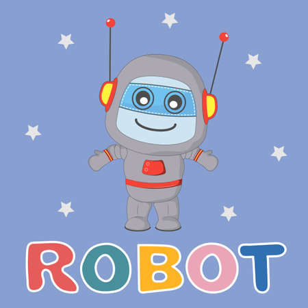 Happy little cartoon robot isolated on blue background.