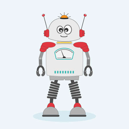 Happy little cartoon robot isolated on white background.