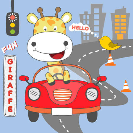 Happy giraffe girl driving red car. Vector illustration.