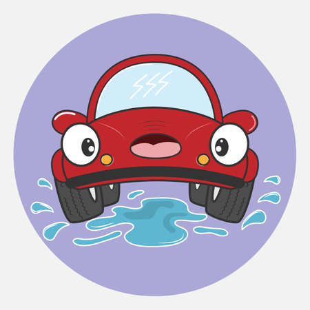 Beautiful red car cartoon character. Vector illustration. Иллюстрация