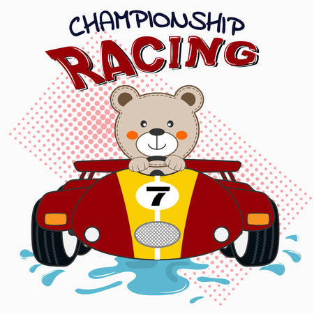 Happy bear driving red sport car. Vector illustration Иллюстрация