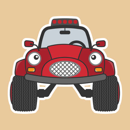 Monster truck red car cartoon character. Vector illustration.