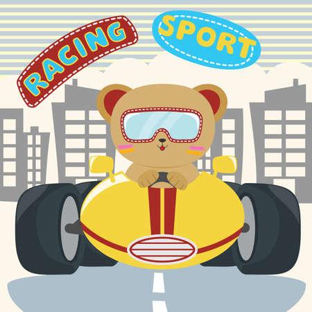 Little bear boy driving blue car. Vector illustration.