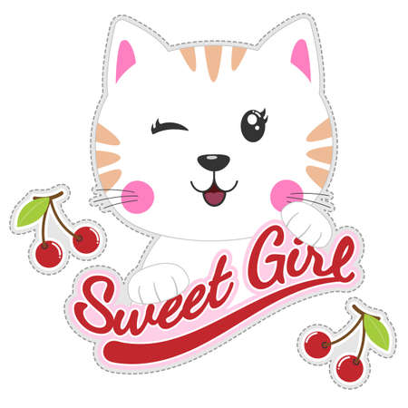 The character of cute beautiful cat isolated on the white background with the cherry. Flat clip art. Modern poster for prints, kids cards, t-shirts and other. Vector illustration.