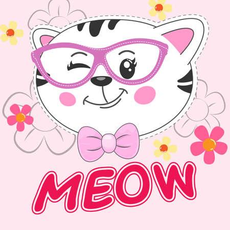 Beautiful cartoon kitty girl in glasses. Greeting card