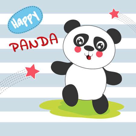Cute cartoon panda has fun walking. Modern flat poster for prints, kids cards, t-shirts and other. Vector illustration. Иллюстрация