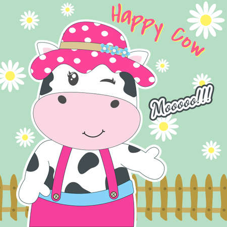 Cute happy cartoon cow isolated on the green background with the flowers. Modern flat poster for prints, kids cards, t-shirts and other. Vector illustration. Greeting card. Иллюстрация