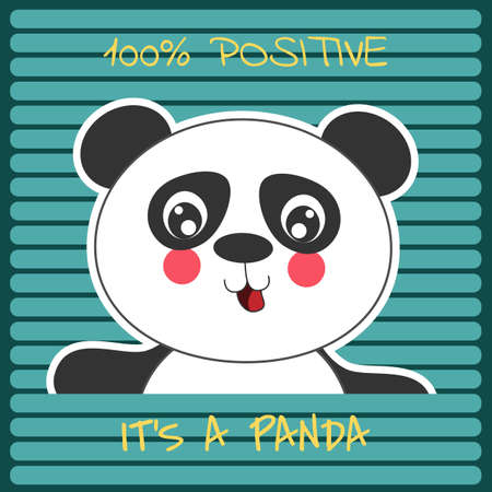Cute cartoon positive panda bear smiling cheerfully. Modern flat poster for prints, kids cards, t-shirts and other. Vector illustration. Greeting card.