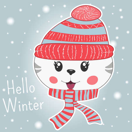 Cute little cartoon kitty in knitted cap and scarf. Modern flat poster for prints, kids cards, t-shirts and other. Vector illustration. Greeting card. Иллюстрация