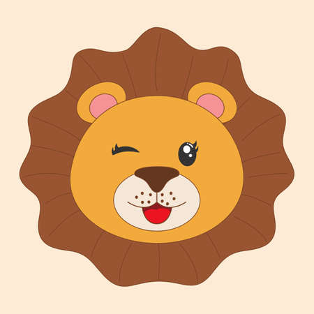 Young cute cartoon head lion. Modern flat poster for prints, kids cards, t-shirts and other. Vector illustration. Greeting card. Иллюстрация