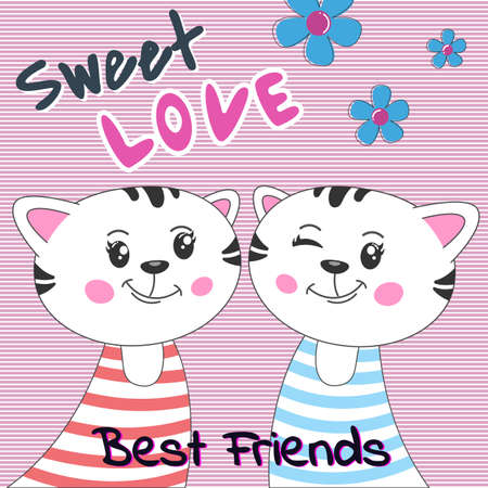 Lovely cartoon two cats with text sweet love on pink background. Modern flat poster for prints, kids cards, t-shirts and other. Vector illustration. Greeting card. Иллюстрация