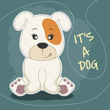 Cute cartoon positive dog puppy sitting. Greeting card.