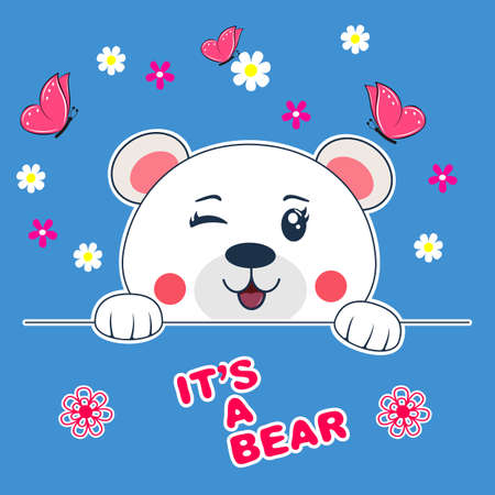 Cute beautiful cartoon face bear teddy. Vector illustration.