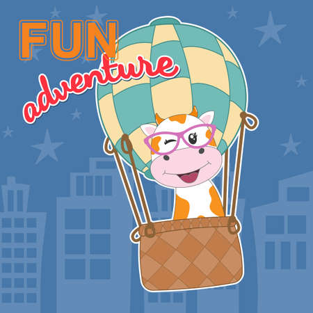 Cute cartoon cow on balloon ride and slogan fun adventure. Modern flat poster for prints, kids cards, t-shirts and other. Greeting card. Vector illustration. Иллюстрация