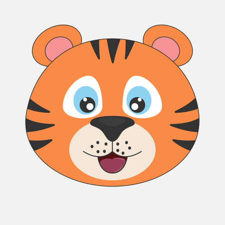 Young cute cartoon head tiger. Modern flat poster for prints, kids cards, t-shirts and other. Vector illustration. Greeting card. 일러스트