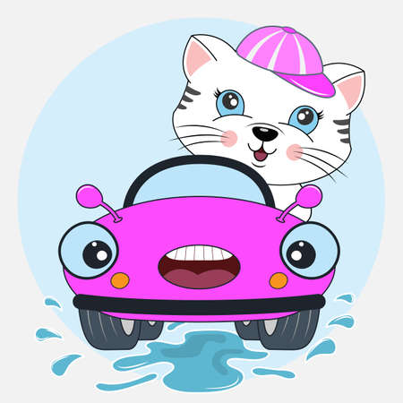 Happy cat girl driving lilac car. flat clipart. Modern poster for prints, kids cards, t-shirts and other. Vector illustration.