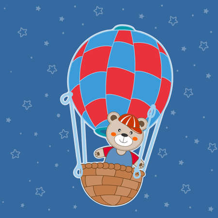 Cute cartoon bear teddy balloon ride. Modern flat poster for prints, kids cards, t-shirts and other. Greeting card. Vector illustration.