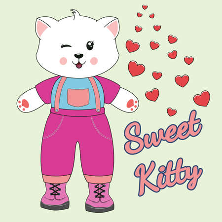 Cute kawaii cartoon cat and slogan sweet kitty. Modern flat poster for prints, kids cards, t-shirts and other. Greeting card. Vector illustration.
