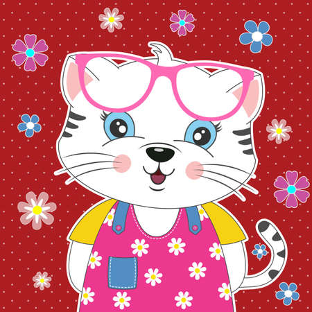 Sweet cat girl in sunglasses with a beautiful floral decoration. Modern poster for prints, kids cards, t-shirts and other. Vector illustration. Иллюстрация