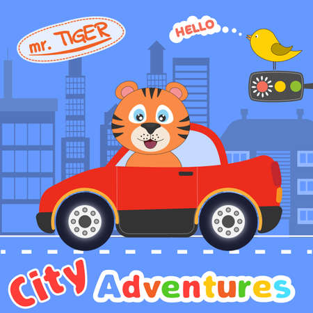 Happy cartoon tiger driving red car. City adventures. Modern poster for prints, kids cards, t-shirts and other. Vector illustration. 일러스트