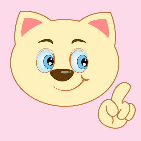 Cute happy cartoon cat smiles and waves his paw. Modern poster for prints, kids cards, t-shirts and other. Vector illustration. Иллюстрация