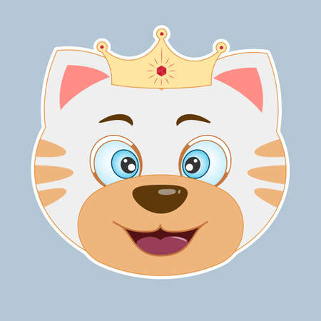 Cute happy cartoon cat princess smiles. Modern poster for prints, kids cards, t-shirts and other. Vector illustration.