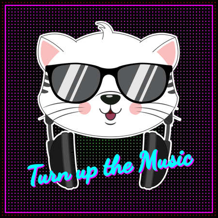 Beautiful positive cartoon cat in sunglasses listen music. Neon pink light. Modern poster for prints, kids cards, t-shirts and other. Vector illustration. Banco de Imagens - 133678119