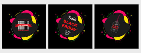 Black Friday Sale Colored Web Banners. Shopping Day sale offer, banner template, modern poster design. Vector illustration.