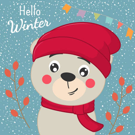 Cute cartoon little bear in knitted red cap and scarf.