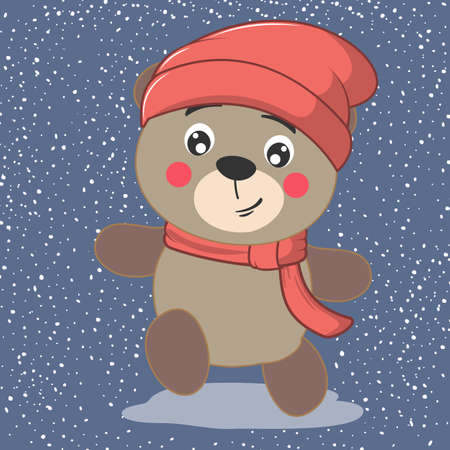 Cute cartoon little bear in knitted red cap and scarf. Hello winter. Иллюстрация