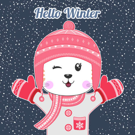 Cute cartoon little cat in knitted red cap and scarf. Hello winter.