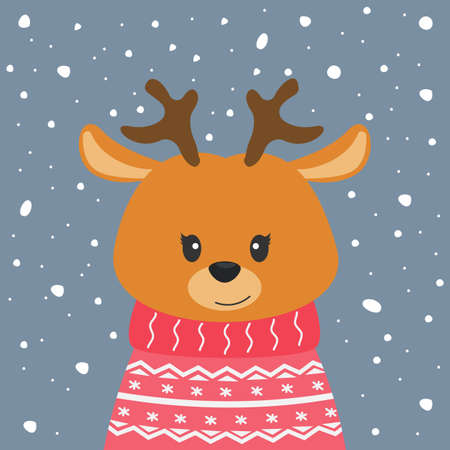Cute cartoon deer with antlers on winter background. Modern poster for prints, kids cards, t-shirts and other. Vector illustration. Greeting card.