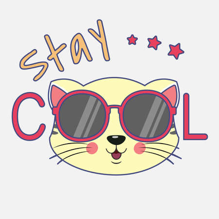 Portrait cute cartoon cat in glasses with the inscription stay cool. Modern design kids graphics for t-shirts. Greeting card. Vector illustration. Иллюстрация
