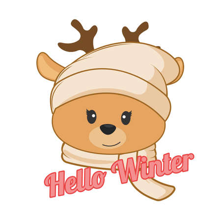 Happy cartoon little deer in knitted cap and scarf. Modern poster for prints, kids cards, t-shirts and other. Vector illustration. Иллюстрация