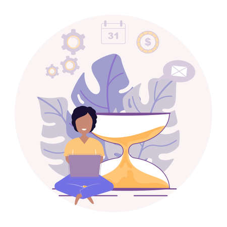 Young business woman sitting with notebook computer. Happy Lady near an hourglass. Productivity, multitasking, planning and time management concept. Flat vector illustration.