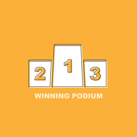 Champion podium sign icon isolated on yellow background. Flat modern design. Black line. Vector illustration.