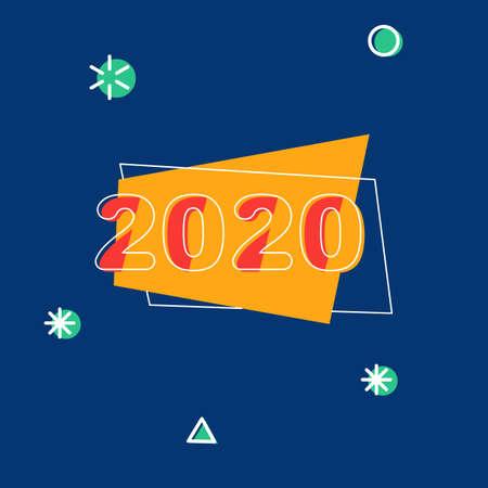 2020 thin white line calendar icon isolated on blue background. Flat modern design, vector Illustration.