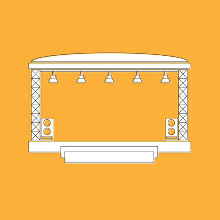 Concert stage and sound speakers isolated on yellow background. Flat modern design. Black line. Vector illustration. Иллюстрация