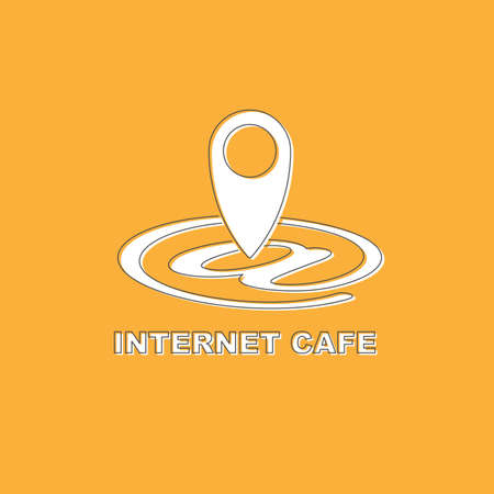 Pictograph Internet cafe Free wifi hotspot GPS map location isolated on yellow background. Flat modern design. Black line. Vector illustration. Иллюстрация