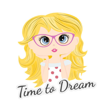 Lovely beautiful little girl isolated in sunglasses on a white background. Time to dream. Graphic element for fashion print design, greeting card, cover, poster and t-shirt. Vector illustration.