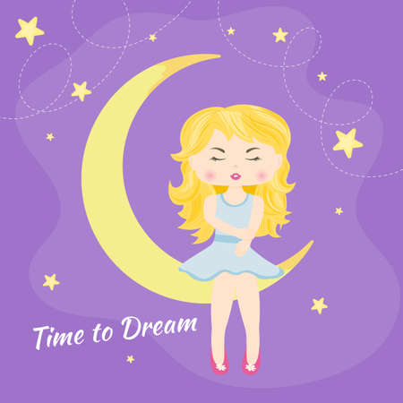 Lovely beautiful little girl sitting on the moon. Time ti dream. Graphic element for fashion print design, greeting card, cover, poster and t-shirt. Vector illustration.