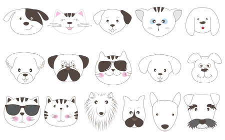 Cute face cats and dogs cartoon in flat style. Vector illustration. Sweet kids graphics for t-shirts and other. Иллюстрация