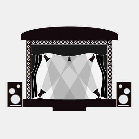 Concert stage and sound speakers isolated on white background.