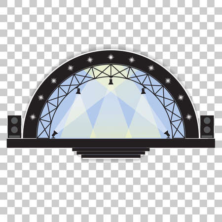 Concert stage and sound speakers isolated on transparent background. Иллюстрация